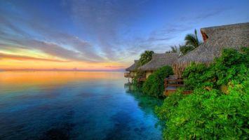 Фото бесплатно море, отдых, бунгало