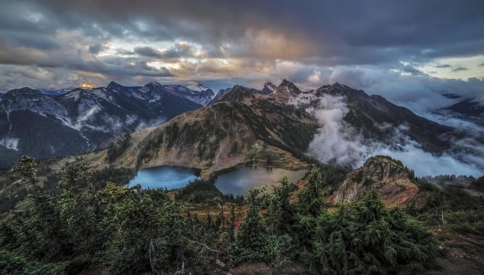 Обои Двойные озера, Twin Lakes, Гора Винчестер, Северные Каскады
