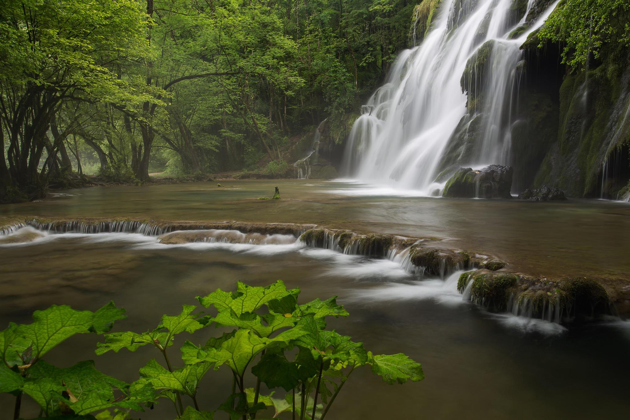 Обои водопад, водоём, деревья, скалы