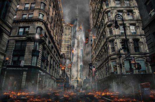 Photo free city, explosion, buildings