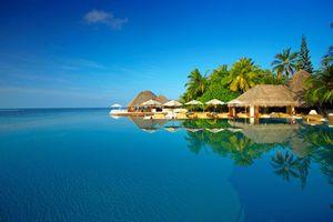 Фото бесплатно море, Мальдивы, пальмы