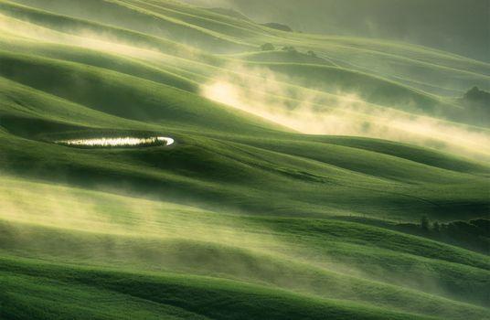 Photo free Tuscany, field, fog