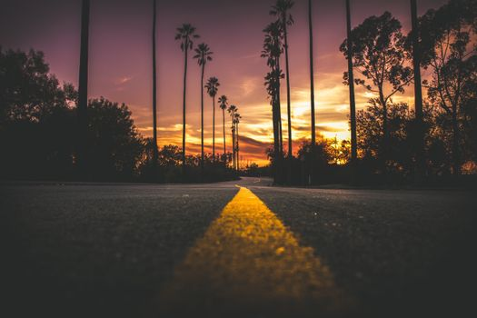 Photo free road, picturesque, sunset