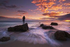 Бесплатные фото Малибу,Калифорния,океан,закат солнца,море,волны,пляж