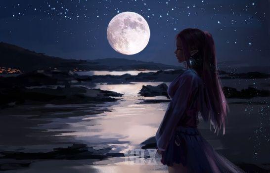 Фото бесплатно лунный свет, эльфийские уши, вид в профиль