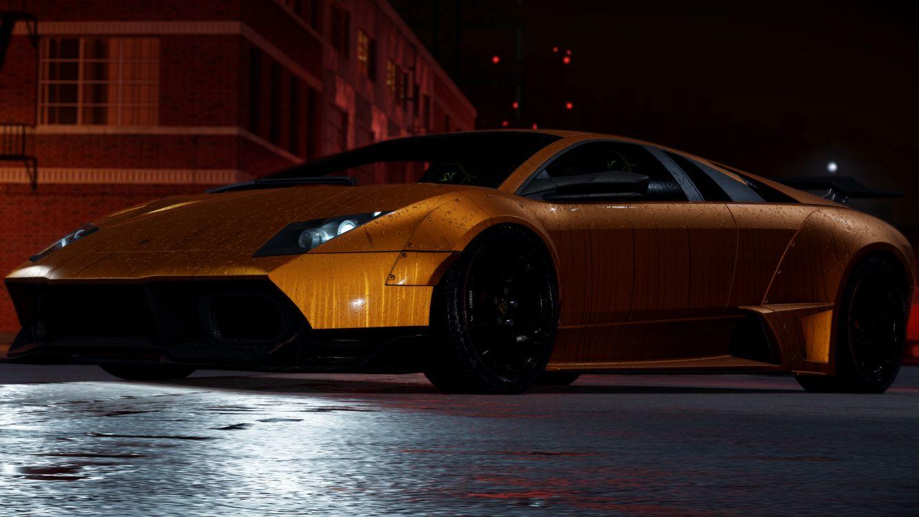 Фото бесплатно жажда скорости, улица, ночь, оранжевый цвет, золотой, lamborghini, машины