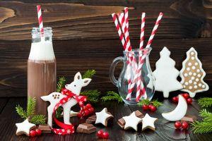 Обои новый год, праздник, шоколад, печенье, какао