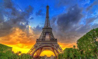 Заставки Франция, закат, Эйфелева башня