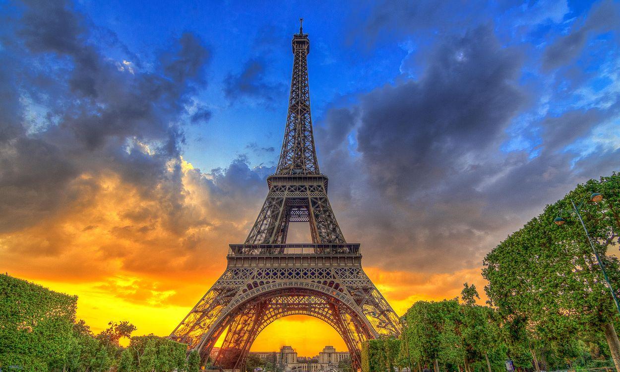 Обои Франция, закат, Эйфелева башня картинки на телефон