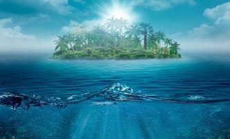 Бесплатные фото море,океан,остров,пальмы,туман,волны,тропики