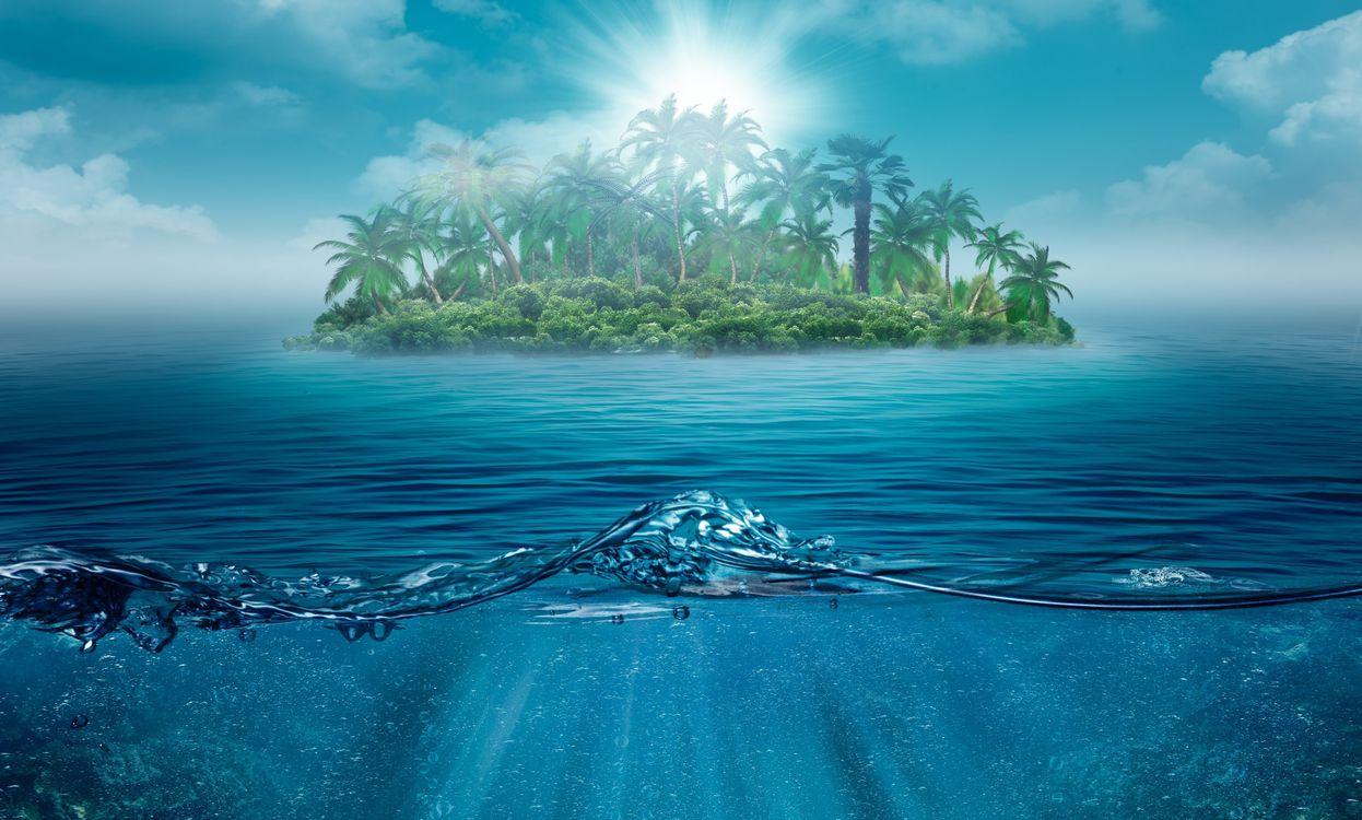 Фото бесплатно море, океан, остров, пальмы, туман, волны, тропики - на рабочий стол