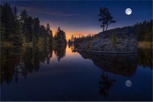 Фото бесплатно озеро, скалы, деревья