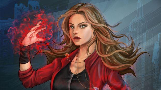 Фото бесплатно супергерои, Scarlet Witch, художник