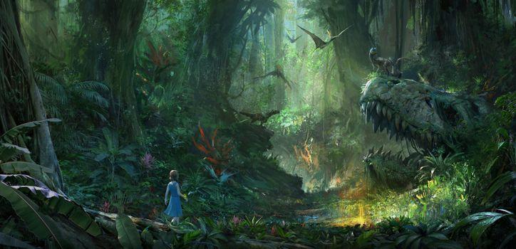 Фото бесплатно парк ковчега, динозавры, лес