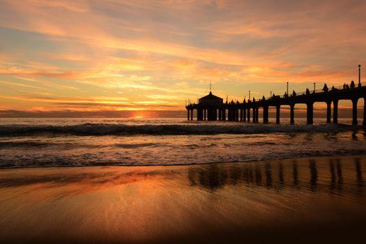 Фото бесплатно закат, пирс, природа