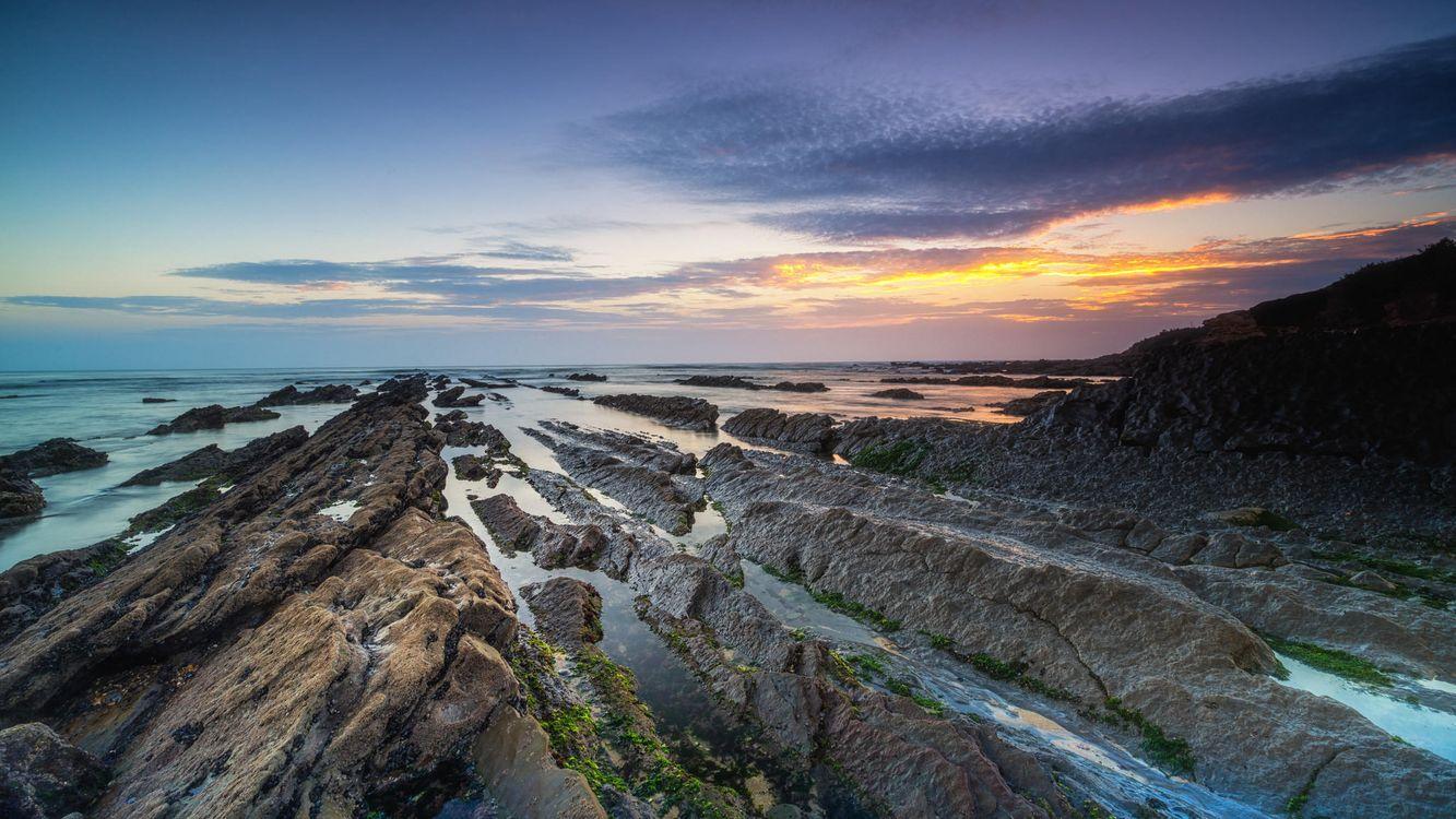 Фото бесплатно Фигейра-да-Фос, Португалия, закат, море, скалы, пейзаж, пейзажи