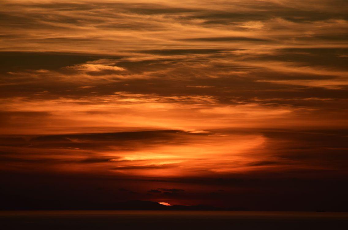 Саванна и удивительный закат · бесплатное фото