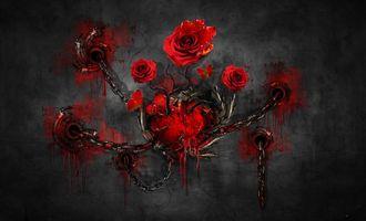 Обои стена, цепи, сердце, розы, art