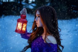 Photo free women, gas lamps, portrait