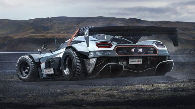 Фото бесплатно Koenigsegg Agera, спойлер, трасса