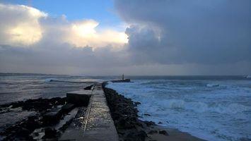 Бесплатные фото закат,море,волны,маяк,пейзаж