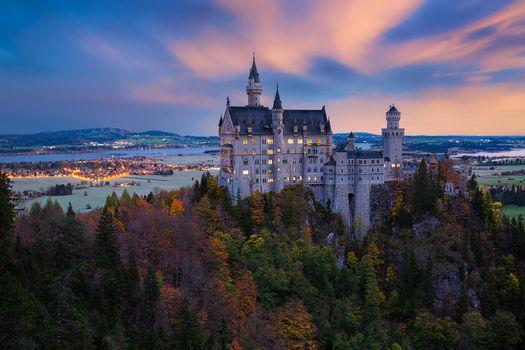 Photo free sunset, Neuschwanstein Castle, Bavaria