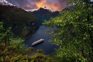 Бесплатные фото Geirangerfjord, Норвегия, фьорд, Geirainger Гейрангер, Круиз, Корабль, горы