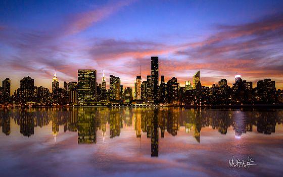 Заставки закат, Manhattan, огни