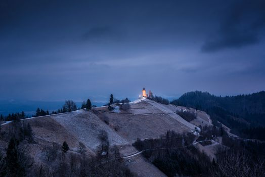 Photo free Jamnik Church, Slovenia, dusk