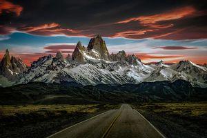 Фото бесплатно закат, дорога, горы