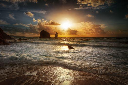Фото бесплатно небо, волны, скалы