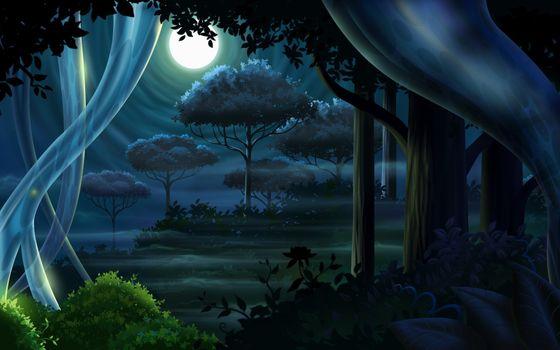 Фото бесплатно фэнтези-арт, полночь, корабль-призрак