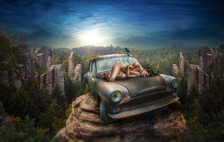 Фото бесплатно скалы, автомобиль, девушка