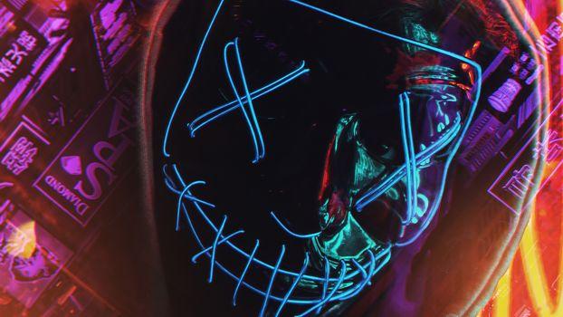 Фото бесплатно Mask, Neon, Photography