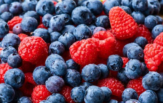 Photo free food, raspberry, blueberry