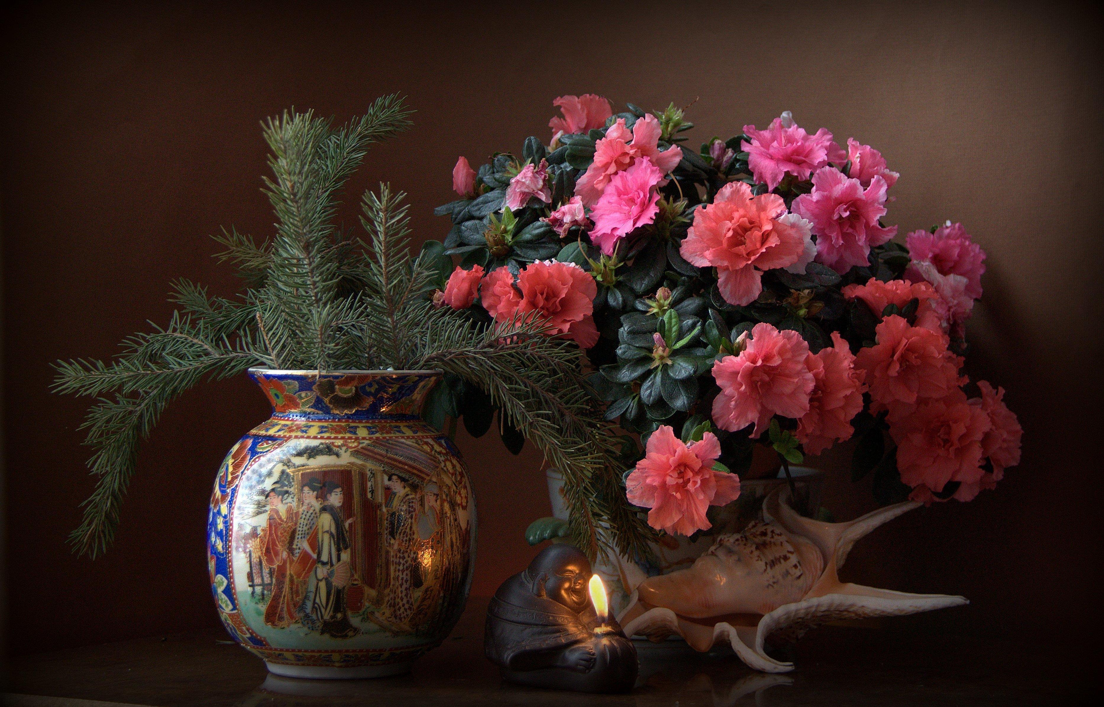 Обои натюрморт, стол, ваза, цветы