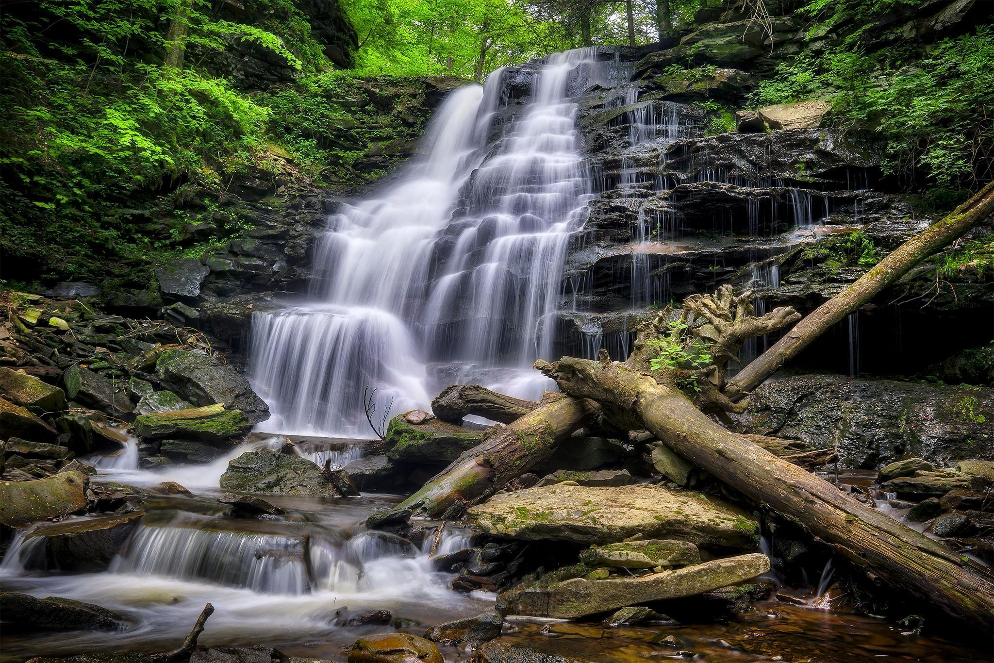 Обои Ricketts Glen State Park, Pennsylvania, Риккетс Глен Стейт Парк, водопад