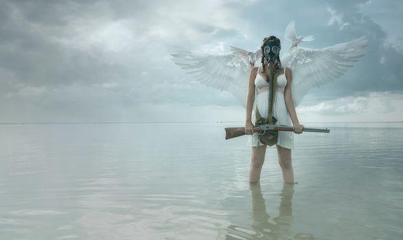 Фото бесплатно девушка-ангел, море, голуби