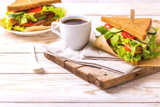 Фото бесплатно кофе, бутерброды, завтрак