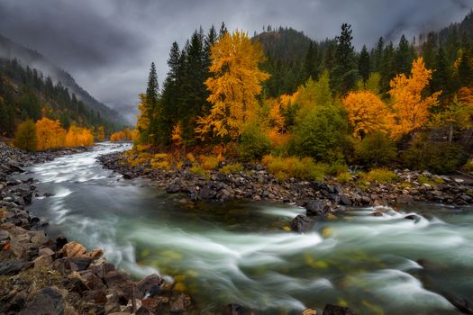 Photo free Wenatchee River Autumn, autumn, clouds