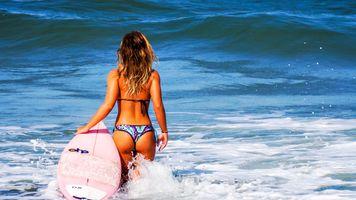Фото бесплатно море, купальник, волны