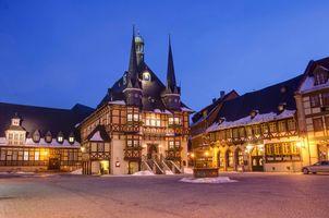Заставки Town Hall, Wernigerode, Германия, Вернигероде, город, ночь, огни