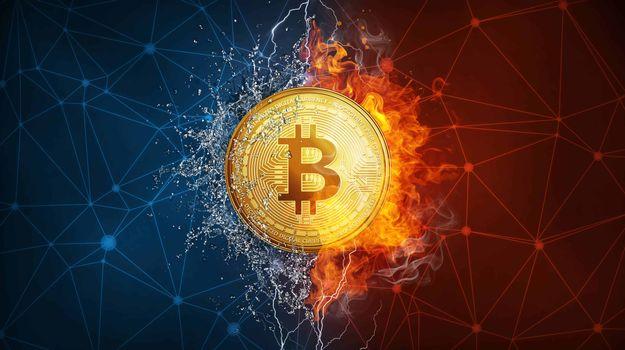 Заставки Bitcoin, огонь, монета