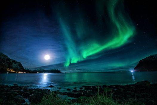 Заставки Северное сияние, полярная звезда, северный