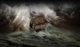 Фото бесплатно шторм, парусник, арт