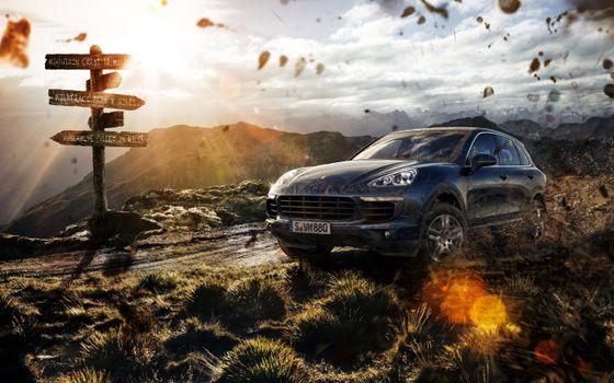 Photo free Porsche Cayenne, road, off-road