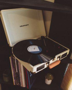 Photo free vinyl record player, vinyl record, retro