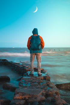 Photo free man, ocean, coast