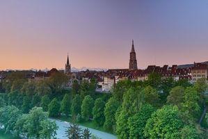 Бесплатные фото Берн,Швейцария,закат,город,река