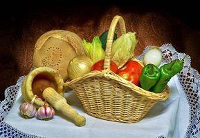 Бесплатные фото натюрморт,еда,овощи,перец,хлеб,лук,помидоры